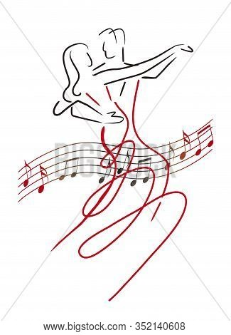 Balroom Dancers Couple With Musical Notes. Line Art Stylized Illustration Of Couple Dancing Ballroom