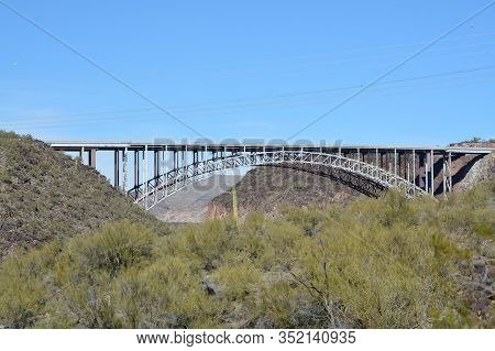 Burro Creek Bridge Near The Burro Creek Campground In The Sonoran Desert, Arizona Usa