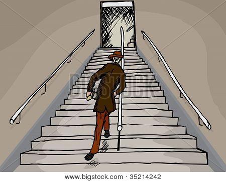 Drunken Man On Stairs