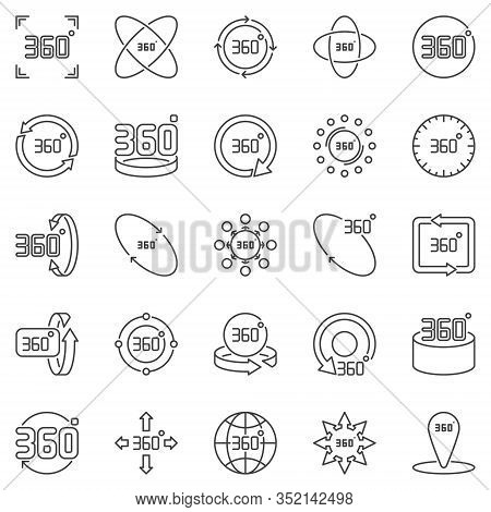 360 Degrees Outline Icons Set. Vector 360 Degree Rotation Concept Symbols In Thin Line Style
