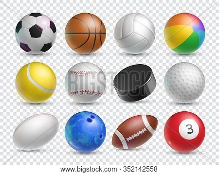 Realistic Balls Set For Various Sports Games. Tennis, Baseball, Soccer And Ice Hockey Sports Equipme