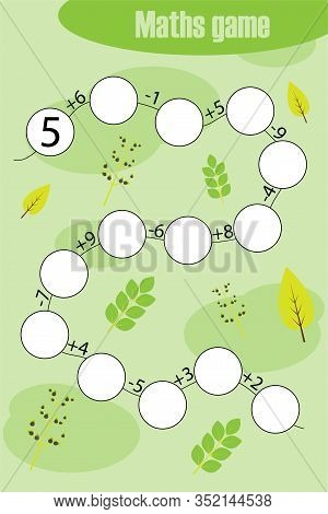 Maths Chain Game With Spring Pictures For Children, Education Game For Kids, Preschool Worksheet Act
