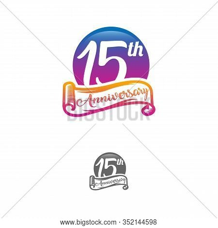 15 Years Anniversary Logo Template Isolated On White, Black And White Stamp 15th Anniversary Icon La