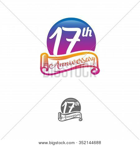 17 Years Anniversary Logo Template Isolated On White, Black And White Stamp 17th Anniversary Icon La