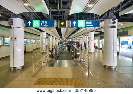 HONG KONG, CHINA - CIRCA JANUARY, 2019: interior shot of Lo Wu MTR rapid transit station. Lo Wu is the northern terminus of the East Rail Line of Hong Kong.