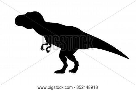 T-rex Tyrannosaurus Silhouette. Vector Illustration Tyrannosaurus Rex Dinosaur Silhouette Isolated O