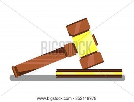 Gavel For Auction Banner Vector Illustration. Wooden Judge Ceremonial Hammer Of Chairman For Adjudic