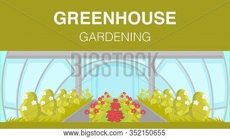 Greenhouse Gardening Web Banner Vector Template. Modern Horticulture Cultivation Technology. Glassho