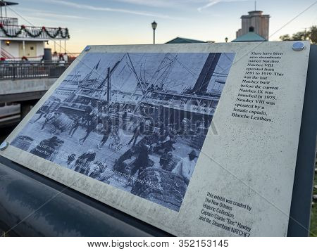 New Orleans, Usa - Dec 11, 2017: Outdoor Commemorative Plaque Telling The Historic Story Of The Padd