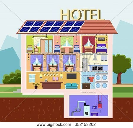 Cartoon Hotel Building With Solar Batteries Vector Illustration. Photovoltaic Cell Panel Sections On