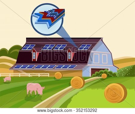 Solar Batteries Electricity Generator On Farm Building Roof Vector Illustration. Photovoltaic Panels