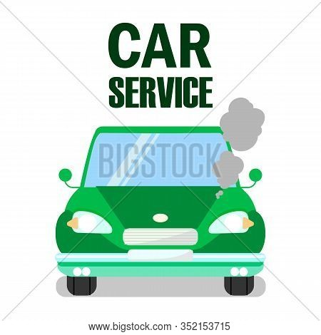 Overheated Engine Car Service Banner Template. Steaming Motor In Retro Automobile Flat Vector Illust