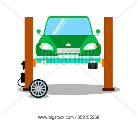 Auto On Lifting Equipment Flat Vector Illustration. Green Automobile Diagnostics On Hydraulic Lift,