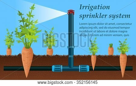 Flat Banner Is Written Irrigation Sprinkler System. Irrigation Device Evenly Distributes Water And I