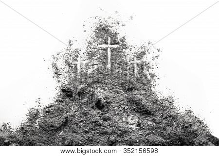 Three Cross On The Golgotha Hill As Good Friday, Easter, Ash Wdnesday Or Lent Period Drawing In Ash