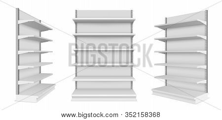 Set Of Realistic Supermarket Showcase With Shelves. Vector Mockup Of Market Or Mall Counter For Reta