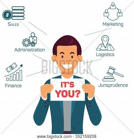 Job Vacancies Offers Flat Vector Banner Template. Cheerful Recruiter, Talent Scout Looking For Candi