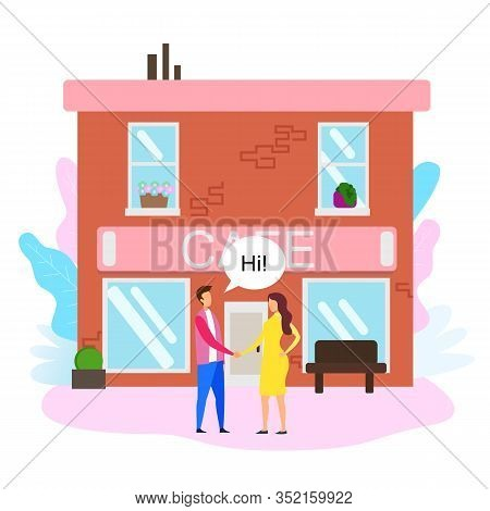Man Woman Shake Hand Outside Cafe Building Vector Illustration. Buy Operating Business Sell Ready Fi