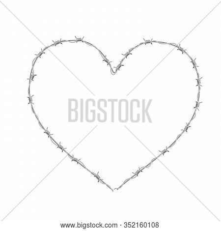 Heart Shaped Realistic Glossy Barbed Wire On White
