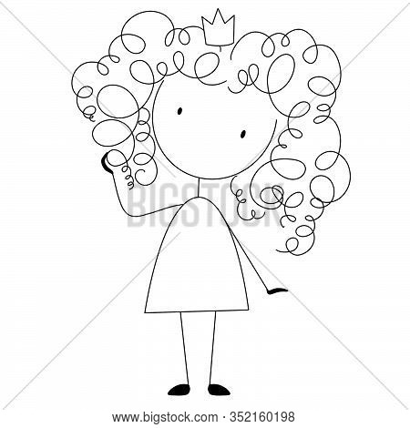 Curly Girl Wearing Crown. Curly Hair Care, Hair Stylist Logo. Haircut Sketch. Frizz Hair Concept.