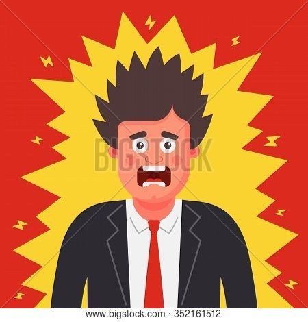 A Man In A Suit Was Shocked. Static Electricity On Clothes. Flat Character Vector Illustration.