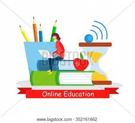 Online Education, Self-employment Flat Web Banner. Distance University, Internet Course. Girl Studyi