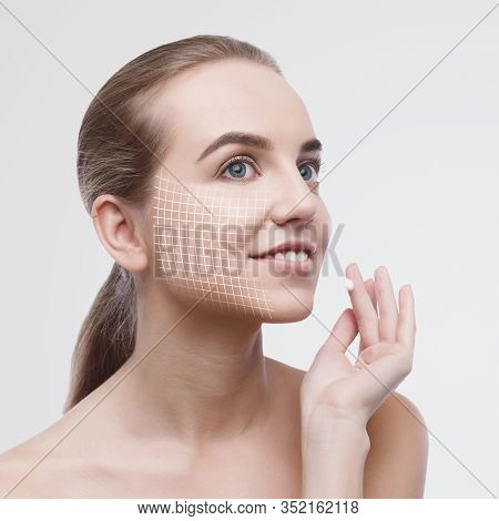 Anti-aging Treatment Concept. Portrait Of Sensual Young Woman With Graphic Net On Her Face