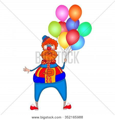 Clown With Colorful Balloons Isolated On White Background. Red Nose Day. Circus Clown Cartoon Charac