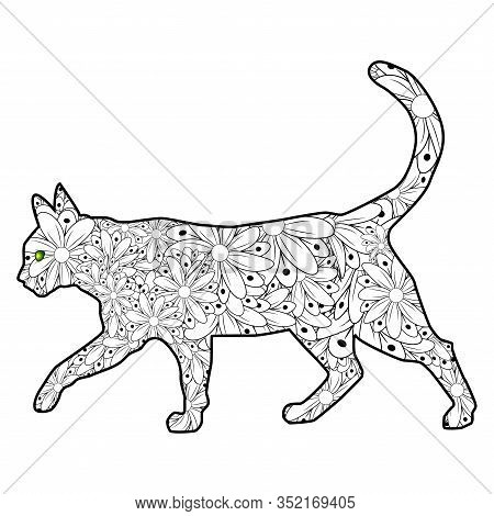 Coloring Book Magic Cat For Adults. Hand Drawn Artistically Ethnic Ornament With Patterned Illustrat