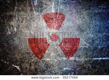 abstract radioactive symbol on a grunge wall