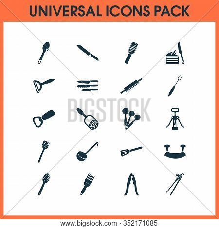 Utensil Icons Set With Cutlery, Wooden Spatula, Measuring Spoon And Other Crusher Elements. Isolated