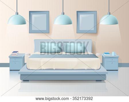 Modern Bedroom Design With Trendy Lighting Cartoon. Vector Illustration On Color Background. Bedding
