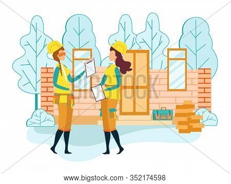 Woman Foreman Or Supervisor In Uniform Communicate With Girl Worker Control Job On Construction Site