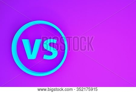 Blue Vs Versus Battle Icon Isolated On Purple Background. Competition Vs Match Game, Martial Battle