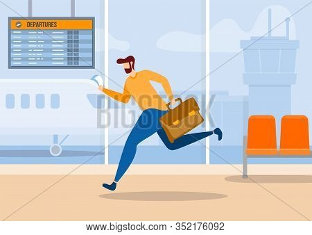 Worker Businessman Cartoon Man Character With Suitcase And Tickets Running Rushing Hurrying Late For