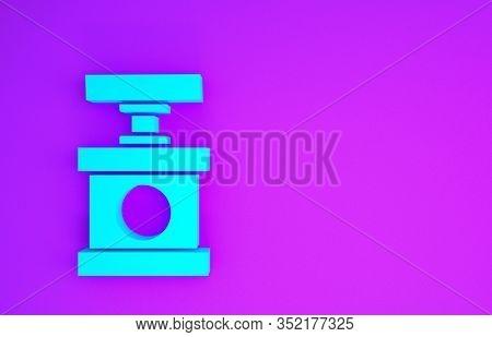 Blue Handle Detonator For Dynamite Icon Isolated On Purple Background. Minimalism Concept. 3d Illust