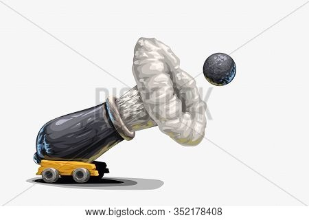 Illustration Of Cartoon Cannon Shot With Cannonball With Shadow On White Background