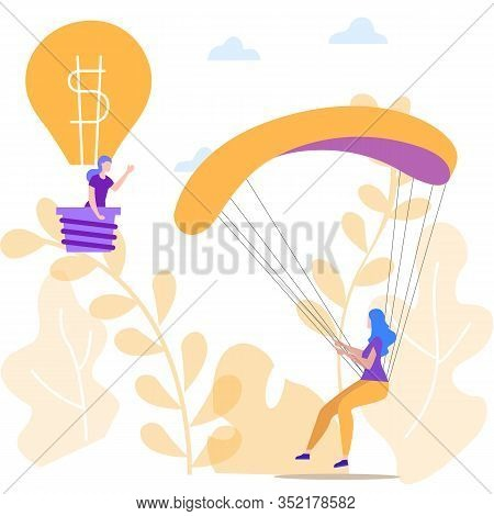Idea Generation. Creating Business Idea. Earn Money. Woman With Parachute And Woman In Balloon. Gift