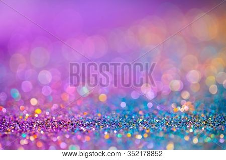 Decoration Twinkle Glitters Background, Abstract Blurred Backdrop With Circles, Modern Design Overla