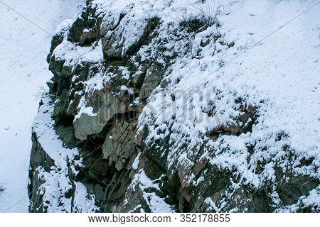 Hillside Of A Mountain In Winter Seasonal Landscape In A Winter Frosty Weather.