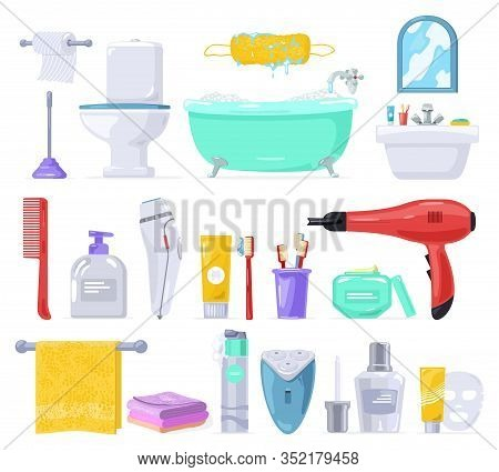 Big Vector Set With Body Care, Personal Hygiene Products, Bathroom Fixtures Toilet Paper Holder. Mir