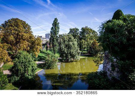 Pond In Buttes-chaumont Park In Summer, Paris