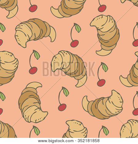 Seamless Vector Pattern With Classic Croissants And Cherry