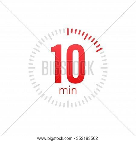 The 10 Minutes, Stopwatch Vector Icon. Stopwatch Icon In Flat Style, 10 Minutes Timer On On Color Ba