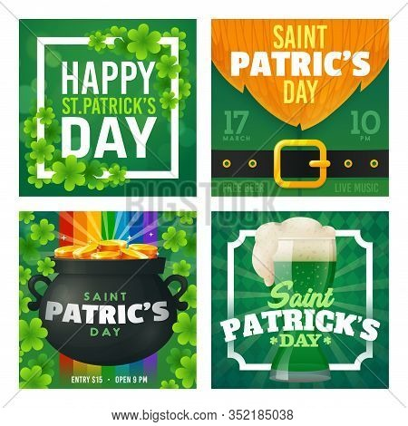 St. Patricks Day Card Set. Promotion Banners Square Shape On Theme Patricks Day. Design Of Advertisi
