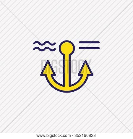 Vector Illustration Of Anchor Icon Colored Line. Beautiful Nautical Element Also Can Be Used As Nava