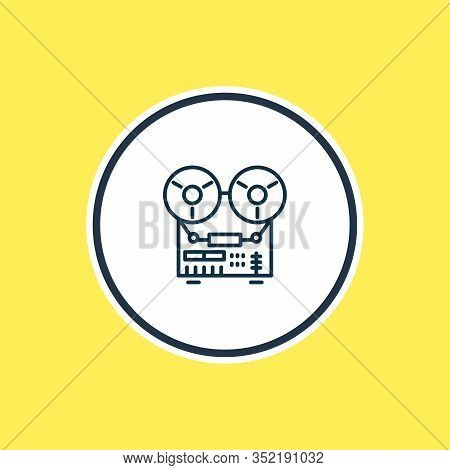 Vector Illustration Of Tape Recorder Icon Line. Beautiful Appliance Element Also Can Be Used As Audi