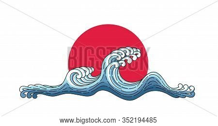 Japan Wave And Big Red Sun. Japanese Oriental Style Vector Art Illustration. Vector Japan Wave Isola