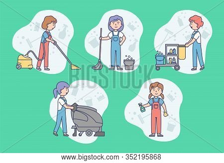 Cleaning Service Concept. Work Personnel Of Cleaning Service Is Cleaning Homes, Offices And Commerci