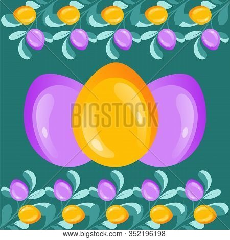 Happy Easter Best Wishes Template. Multicolored Ornament Easter Eggs With Gold Glitter Paschal Eggs
